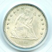 1861 Liberty Seated Quarter Pcgs Ms63 Old Green Holder