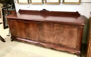 Antique English Mahogany Ball And Claw Sideboard 88 Long 4 Doors Carved Shells
