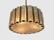 Exceptional Crystal Glass And Brass Chandelier Drum Shape Pendant Kaiser-germany