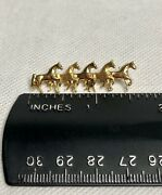 18k 750 Yellow Gold Brooch Pin 5 Horses Horse Vintage Europe Marked Germany
