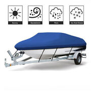 17-19ft Heavy Duty 600d Oxford Waterproof V-hull Boat Cover Blue W/ Storage Bag