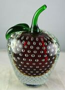Murano Controlled Bubble Apple Glass Paperweight Sculpture Red Inside Clear
