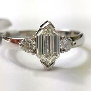 Clearance 1.00carat Fancy Cut Solitaire Engagement Ring Hallmark 18k White Gold