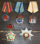 Vtg Soviet Russia Wwii Ussr Cccp Order Metal Pin Badge Medal Military Lot Of 5