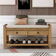 Antique Multipurpose Storage Bench Shoe Rack W/cushioned Seatanddrawers Entryway