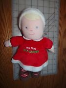 Carters Just One Year My First Christmas Plush Girl Doll 10 Blonde / Blue Eyes