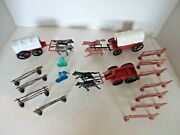 Vintage 3 Plastic Western Horses And Wagons, Cowboy And Indian And Fencing