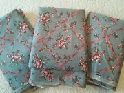 Weilwood Polished Cotton Fabric French Blue W Pink Roses Ribbons Vtg 80s 3 Pcs