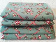Weilwood Polished Cotton Fabric Light Green W Mauve Roses Ribbons Vtg 80s 3 Pcs