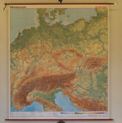 Schulwandkarte Central Europe Germany 78 11/16x89 13/16in 1992 Modern Top Map