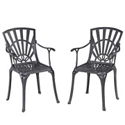 Grenada Stationary Charcoal Gray Cast Aluminum Outdoor Arm Chairs Set Of 2