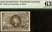 Unc 25 Cent Second Issue Fractional Currency Postage Note Fr 1283 Pmg 63