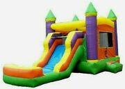 Commercial Inflatable Combo Bounce House Orange Slide 100 Pvc Pool 1.5hp Blower