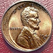 1949-d Lincoln Wheat Cent Anacs Ms-62 Red Off-center Mint Error