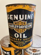 Harley Davidson Motorcycle Vintage 1930-40's Motor Oil Full Qt Can Container