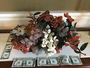 """Vnt Chinese Carved Jade Tree Agate Flowers Huge Bonsai Stone Pot 21'""""x14""""x9"""""""