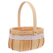 1pc Flower Packing Basket Wood Container Wooden Basket For Gift Rose Decor