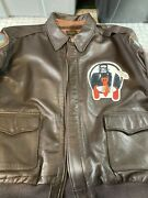Us Authentic A2 Flight Jacket 46 Flying Tiger Bood Chit Squadron Patch Goat