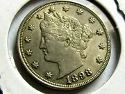 1898 Liberty V Nickel Verry Choice Auscace Date