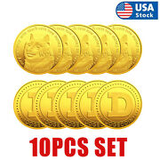 10 Pcs Dogecoin Commemorative Collectors Doge Coins Gold Crypto Bitcoin