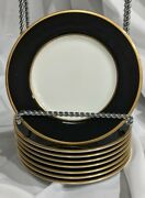 Set Of 8 Mikasa Cathy Hardwick Onyx 6 1/2 Bread Plates Black Gold Rimmed