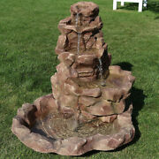 Sunnydaze Stone Springs Outdoor Water Fountain Patio Water Feature W/ Led - 42