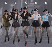 1/6 Scale Female Clothes Sexy Police Seamless Pantyhose Skirt Suit 5 Colors
