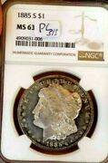 Morgan Silver Dollar 1885 S Ngc Ms 63+++++ Off Grade Proof Like Monster Coin S/s