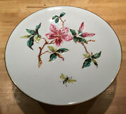 Majolica Tree Trunk Pedestal Cake Cheese Platter Floral Bumble Bee