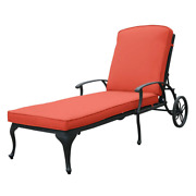 Antique Bronze Aluminum Reclining Outdoor Chaise Lounge With Wheels And Red Cush