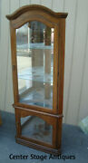 62001 Oak Corner China Cabinet Curio With Light And Plate Glass Shelves
