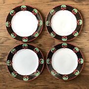 4 Mary Engelbreit Cherry Cameo Red Black Dinner Plates 10.625 Inches