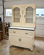 Antique Art Deco Style 2 Piece Hoosier Kitchen Cabinet Ivory
