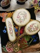 Vintage Dressing Table Petitpoint Mirror And Hair And Cloth Brush Set