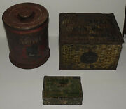 3 Old Antique Well Used Smoking Tobacco Tins Velvet R. A. Patterson Yale