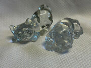 Clear Glass Crystal Princess House Pets Dog And Fenton Cat Paperweight Figurines