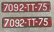 Vintage Pair Metal European French Temporary License Plates Automobile Sign
