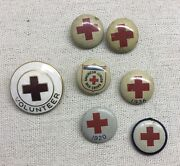 Antique American Red Cross Pin And 6 Pinbacks - Assorted 1920 1936