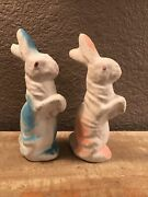 Vintage Pair 7 Inch Blue And Pink Paper Mache Rabbits
