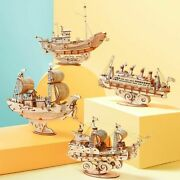 Boat And Ship Diy Wooden Puzzle Model Building Block Kits Toy Assembly Kids Adult