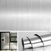 Extra Wide Stainless Steel Contact Paper Silver Peel Stick Wallpaper, Waterproof