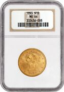 1893 10 Liberty Head Eagle Gold Ngc Ms64 Generation Ngc-6 Old Fat Holder