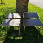 4 Tv Trays Lightweight Portable Camping Faux Wood Metal Legs Mcm Farmhouse