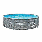 Summer Waves Active 14 Ft Stone Slate Print Metal Frame Above Ground Pool Used