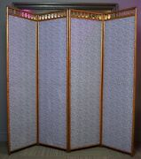 Antique Victorian Stick And Ball Oak 4 Section Dressing Room Divider Screen