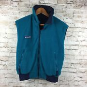 Columbia Sportswear Vintage 90s Womens Reversible Vest Size Medium Teal Blue
