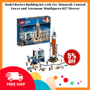 Model Rocket Building Kit W/ Toy Monorail, Control Tower And Astronaut Minifigures