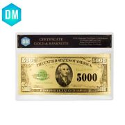 5000 Dollar 1918 Year 24k Gold Banknote Colorful Currency Note Money With Coa