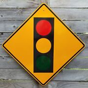 41 Authentic Used Traffic Signal Stop Light Ahead Street Road Sign Chicago Vtg