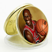 Business Souvenir Gifts 24k Gold Plated Coin Michael Jordan Famous Person Coin